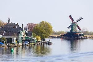 Preserved Historic Windmills and Houses in Zaanse Schans by Amanda Hall