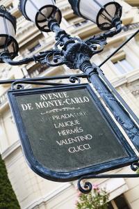 Sign for Exclusive Shops, Monaco-Ville, Monaco, Europe by Amanda Hall