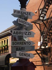 Signpost to Italian Cities, North End, 'Little Italy', Boston, Massachusetts, USA by Amanda Hall
