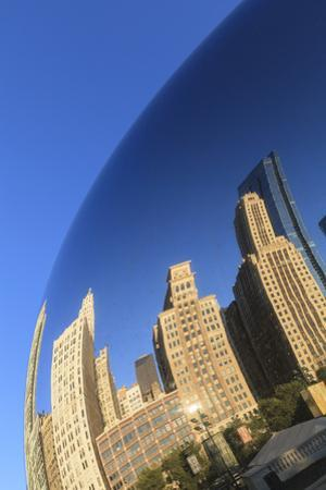 Skyscrapers Reflecting in the Cloud Gate Steel Sculpture, Millennium Park, Chicago, Illinois, USA by Amanda Hall