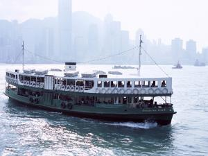 Star Ferry, Victoria Harbour, with Hong Kong Island Skyline in Mist Beyond, Hong Kong, China, Asia by Amanda Hall