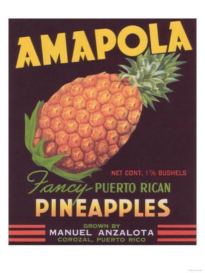 Amapola Pineapple Label - Corozal, PR-Lantern Press-Art Print