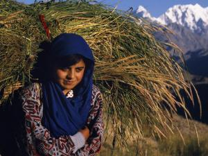 Burusho Girl Returns Home with Fodder for Her Livestock in the Hunza Valley by Amar Grover