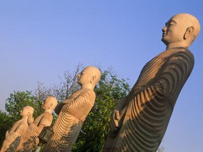 India, Bihar, Bodh Gaya (Aka Bodhgaya), Statues of Bodhisattvas, or 'Enlightened Beings', Garden in