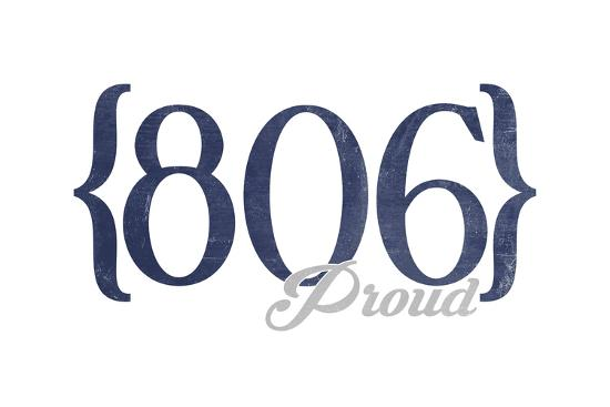Amarillo, Texas - 806 Area Code (Blue)-Lantern Press-Art Print