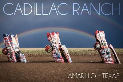 Amarillo, Texas - Cadillac Ranch - Double Rainbow-Lantern Press-Art Print