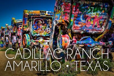 Amarillo, Texas - Cadillac Ranch-Lantern Press-Art Print