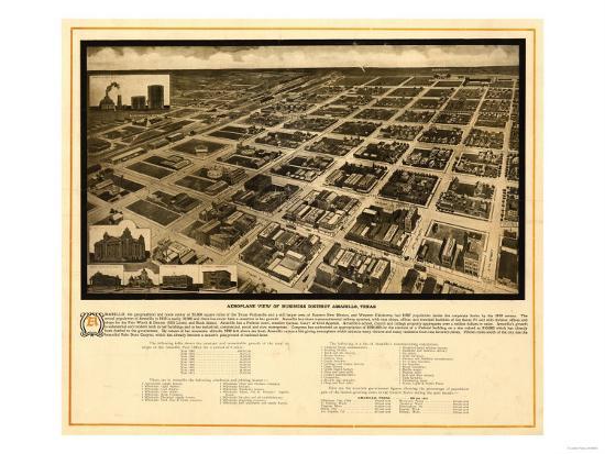 Amarillo, Texas - Panoramic Map-Lantern Press-Art Print