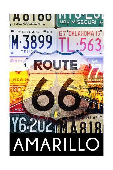 Amarillo Texas - Route 66 License Plates-Lantern Press-Art Print