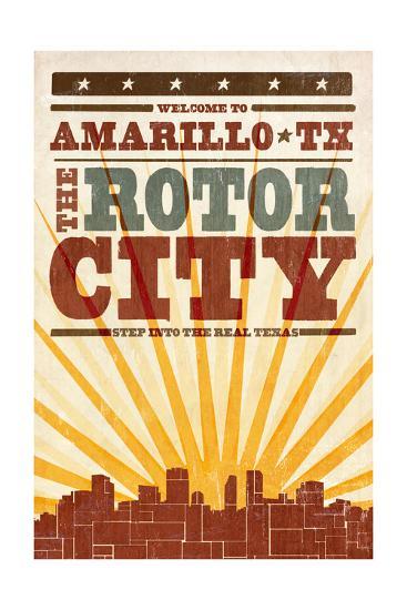 Amarillo, Texas - Skyline and Sunburst Screenprint Style-Lantern Press-Art Print