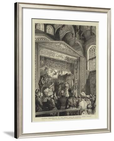 Amateur Theatricals in the Great Hall of Hampton Court Palace-Godefroy Durand-Framed Giclee Print