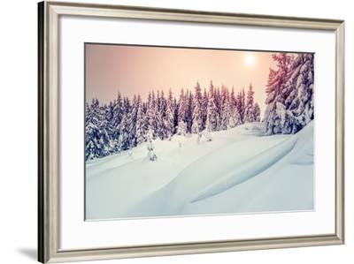 Amazing Evening Winter Landscape. National Park. Carpathian, Ukraine, Europe. Beauty World. Retro S-Leonid Tit-Framed Photographic Print