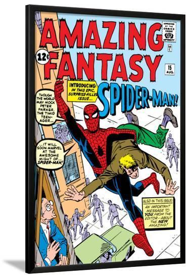 Amazing Fantasy No.15 Cover: Spider-Man Swinging-Steve Ditko-Lamina Framed Poster
