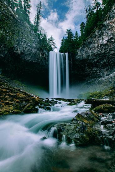 Amazing Mount Hood Waterfall, Tamanawas Falls, National Forest Oregon-Vincent James-Photographic Print