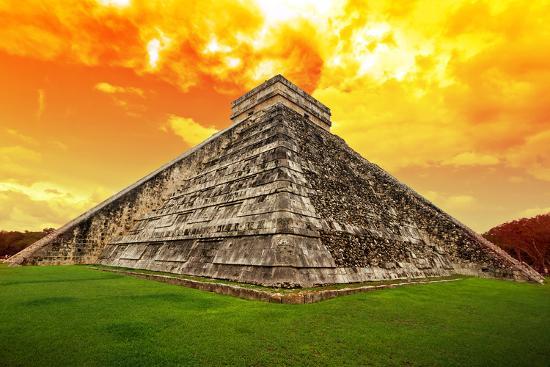 Amazing Sky over Kukulkan Pyramid in Chichen Itza, Mexico-Patryk Kosmider-Photographic Print