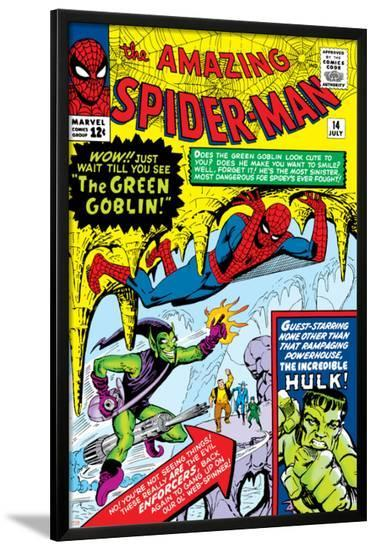 Amazing Spider-Man No.14 Cover: Spider-Man, Green Goblin and Hulk-Steve Ditko-Lamina Framed Poster