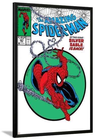 Amazing Spider-Man No.301 Cover: Spider-Man Swinging-Todd McFarlane-Lamina Framed Poster