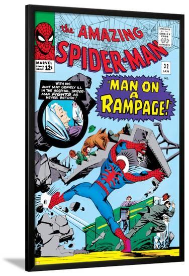 Amazing Spider-Man No.32 Cover: Spider-Man Crouching-Steve Ditko-Lamina Framed Poster