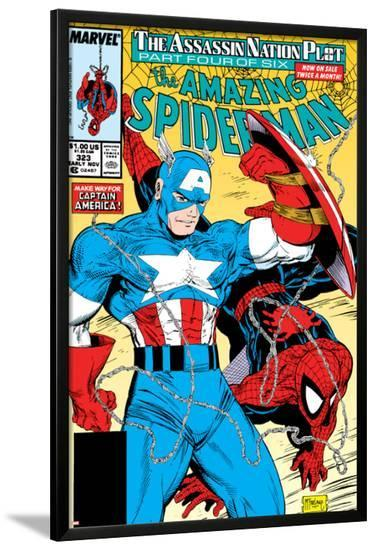 Amazing Spider-Man No.323 Cover: Captain America and Spider-Man-Todd McFarlane-Lamina Framed Poster