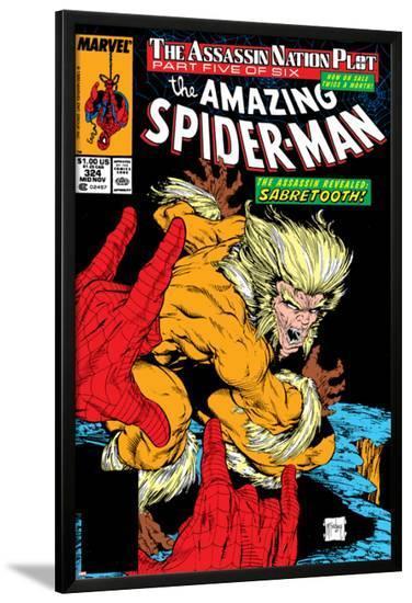 Amazing Spider-Man No.324 Cover: Sabretooth and Spider-Man-Todd McFarlane-Lamina Framed Poster