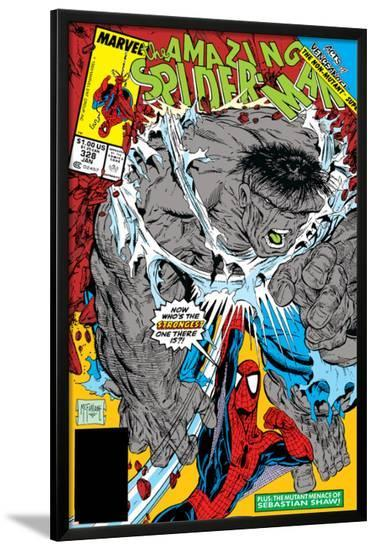 Amazing Spider-Man No.328 Cover: Hulk and Spider-Man Crouching-Todd McFarlane-Lamina Framed Poster