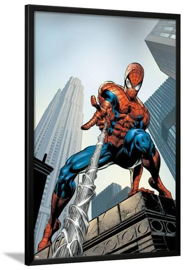 Amazing Spider-Man No.520 Cover: Spider-Man Swimming-Mike Deodato-Lamina Framed Poster
