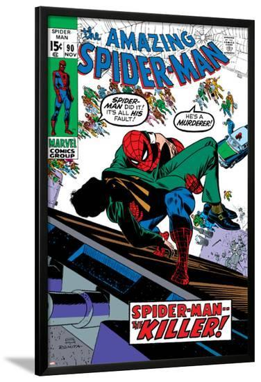 Amazing Spider-Man No.90 Cover: Spider-Man and Captain Stacy Fighting-Gil Kane-Lamina Framed Poster