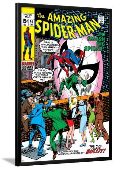 Amazing Spider-Man No.91 Cover: Spider-Man Fighting-Gil Kane-Lamina Framed Poster