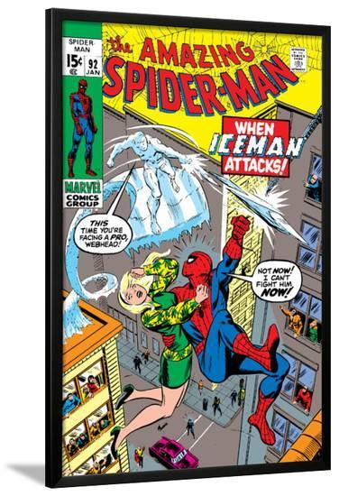 Amazing Spider-Man No.92 Cover: Spider-Man, Stacy, Gwen and Iceman-Gil Kane-Lamina Framed Poster