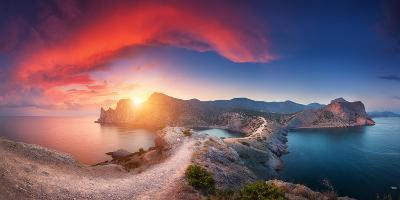 Amazing Summer Landscape with Mountains, Sea, Blue Sky, Sun and Beautiful Colorful Red Clouds-Denys Bilytskyi-Photographic Print