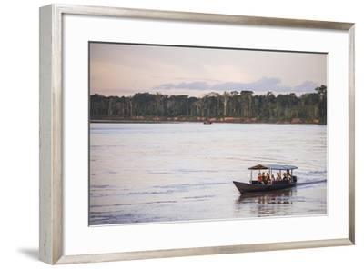 Amazon Jungle Boat Trip at Sunset, Tambopata National Reserve, Peru, South America-Matthew Williams-Ellis-Framed Photographic Print