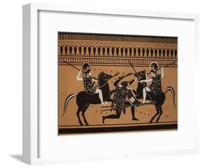 Amazons Fighting, Engraving from Greek Vases Conserved at Leyden, Holland, 19th century