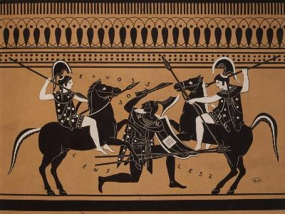 Amazons Fighting, Engraving from Greek Vases Conserved at Leyden, Holland, 19th century--Giclee Print