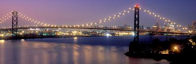 Ambassador Bridge at dusk, Detroit, Wayne County, Michigan, USA