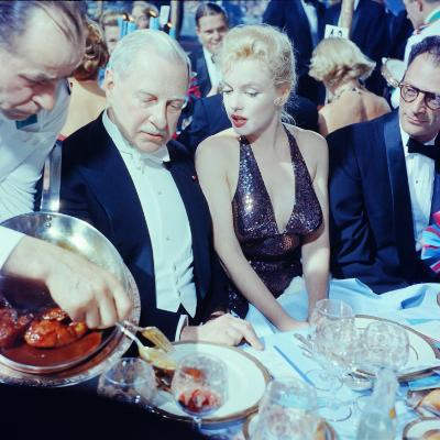 Ambassador Winthrop Aldrich Chats with Marilyn Monroe as Husband Arthur Miller Looks on, Paris Ball-Peter Stackpole-Premium Photographic Print