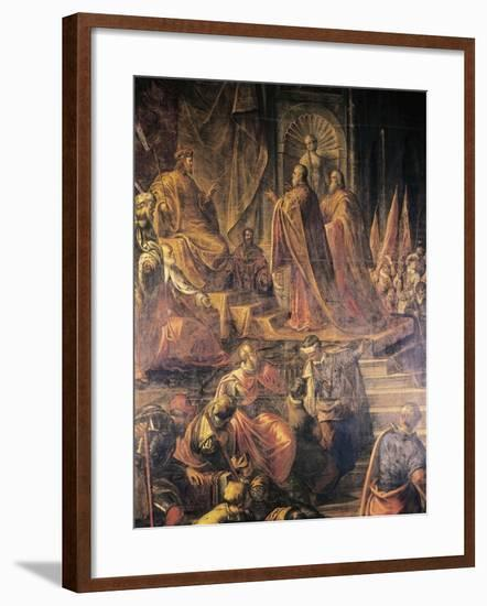 Ambassadors of Pope and Venetians Pleading with Barbarossa for Peace in Vain-Jacopo Tintoretto-Framed Giclee Print