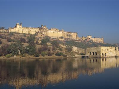 Amber Palace and Fort, Built in 1592, from Moata Sagar, Jaipur, Rajasthan State, India-Robert Harding-Photographic Print