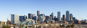 Denver Colorado City Skyline from West Side of Town. Snow Covered Ground Winter. by Ambient Ideas