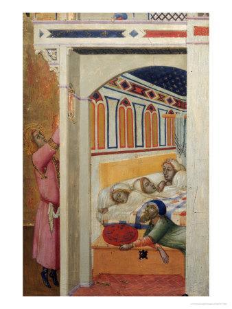 Saint Nicholas Giving Three Balls of Gold to Three Poor Girls
