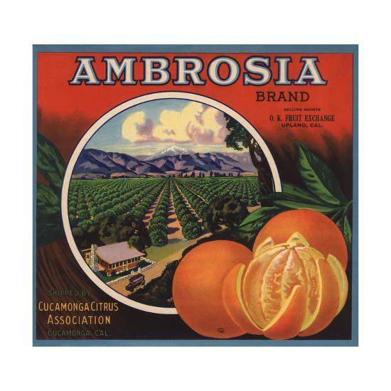 Ambrosia Brand - Upland, California - Citrus Crate Label-Lantern Press-Art Print