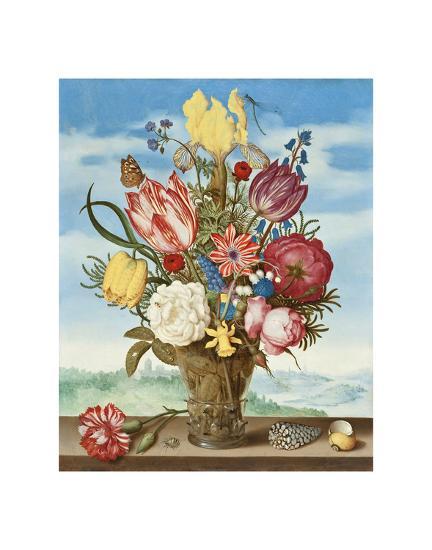 Ambrosius Bosschaert, Bouquet of Flowers on a Ledge-Dutch Florals-Art Print