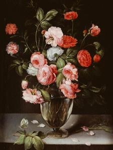 Roses and Carnations in a Glass Vase on a Stone Ledge by Ambrosius Brueghel