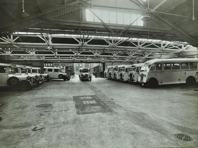 Ambulances in a Garage, Western Ambulance Station, Fulham, 1939--Photographic Print