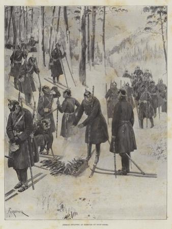 German Infantry at Exercise on Snow-Shoes by Amedee Forestier