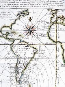 Map of the Atlantic Ocean from Newfoundland to Cape Horn, 1716 by Amedee-Francois Frezier