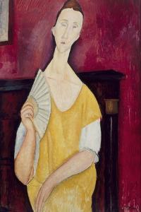 Femme à l'éventail, Lunia Czechowska (1919) by Amedeo Modigliani