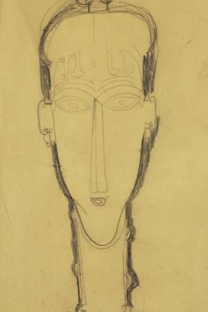 Head of a Caryatid in a Head Dress, 1911 by Amedeo Modigliani