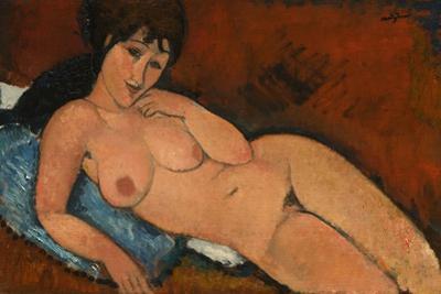 Nude on a Blue Cushion, 1917 by Amedeo Modigliani