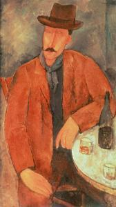 Seated Man Leaning on a Table by Amedeo Modigliani
