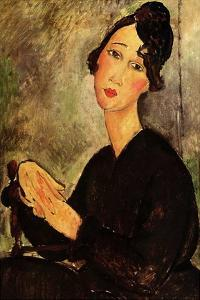 Seated woman with black dress by Amedeo Modigliani